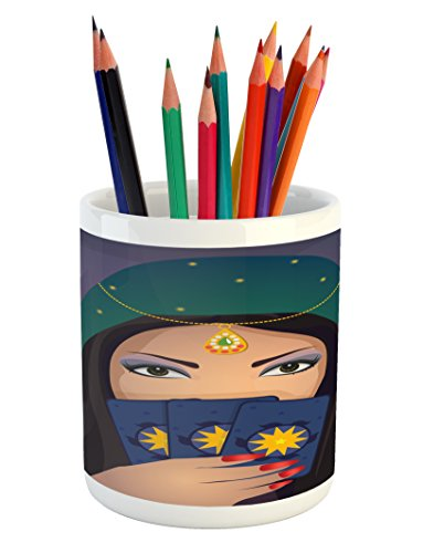Lunarable Gypsy Pencil Pen Holder, Fortune Teller Woman with a Shawl Holding Tarot Cards Mysterious Young Lady Portrait, Printed Ceramic Pencil Pen Holder for Desk Office Accessory, Multicolor -