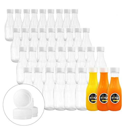 10 Oz Empty PET Plastic Juice Bottles 40 Pack Clear Disposable Bulk Drink Bottles with White Tamper Evident Caps Great for Storing Homemade Juices, Milk, Water, Smoothies, Tea (40)