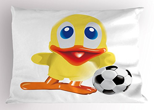 Lunarable Duckies Pillow Sham, Soccer Themed Cartoon Style Rubber Duck Toy and Football Nature and Sport Pattern, Decorative Standard Size Printed Pillowcase, 26 X 20 inches, Multicolor by Lunarable