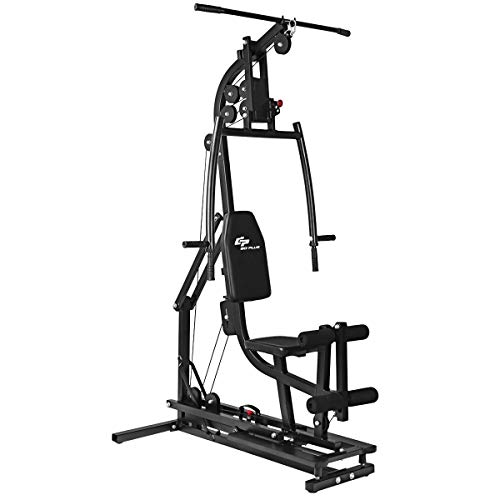 Goplus Multifunctional Trainer Free Weight Strength Training Home Gym Station Workout Machine for Total Body Training Max Load 330LBS (Black)
