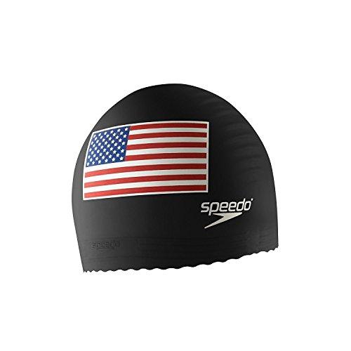 - Speedo Flag Latex Swim-swimming Head Cap Black Tear Resistant Construction New