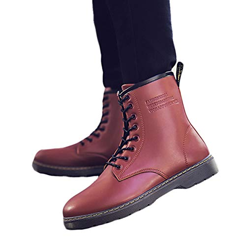 (GanQuan2018 Men's Martin Boot Lace Up Fashion Warm Winter Combat Boots)
