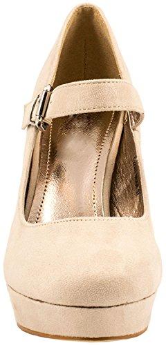 Chaussures Paris Elara T hauts talons Femmes Talons Janes beige Escarpins Strap Plateforme Mary wqCaw68O