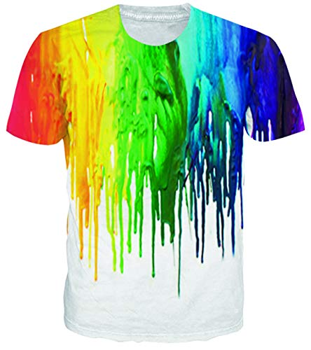 Adicreat Men's Colorful 3D White-Paint T-Shirt Short Sleeve Fashion Tee Shirts (Best Gay Tv Couples)