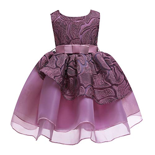 One Shoulder Printed Dress for Girls Princess Flower Wedding Pageant Party Dresses,Purple2,5 -