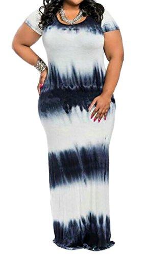 Black BLTR Casual Maxi Size Long Plus Short Sleeve Dresses Dye Women Tie pAqPZpx