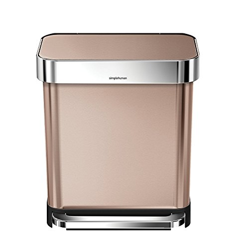 (simplehuman 30 Liter / 8 Gallon Stainless Steel Rectangular Kitchen Step Trash Can with Liner Pocket, Rose Gold Stainless Steel)