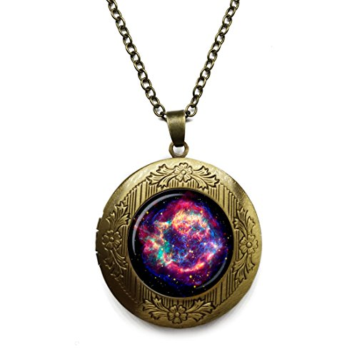 - Vintage Bronze Tone Locket Picture Pendant Necklace Nebula Galaxy Space Turquoise White Included Free Brass Chain Gifts Personalized
