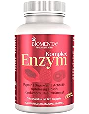 BIOMENTA Multi Enzyme Complex - met papaja (papaïne), ananas (bromelaïne), kiwi (actinidine), appelciderazijn, rutine, kardemom, komijn - veganistisch - 120 enzymcapsules - 2 maanden kuur