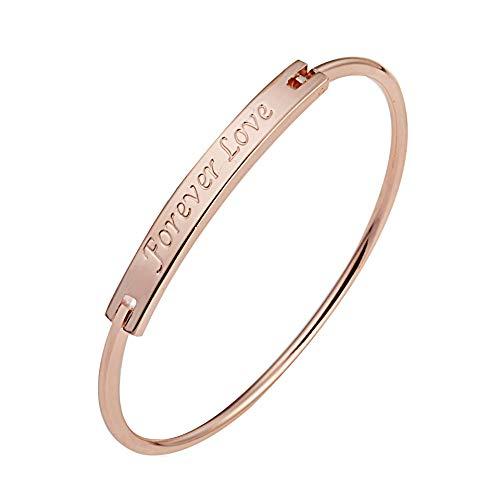 - Forever Love Bracelet Letter Charm Bangle Women Long Rectangular Engraved Bangle Romantic Couple Gift (Rose Gold)