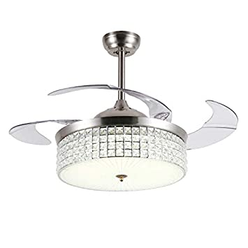 42inch Modern Ceiling Fans with Light Crystal LED Chandelier Pendant Fixture Retractable Blades Remote Control 3 Light Color 3 Fan Speed for Living Room Dining Room Bedroom Silver 5