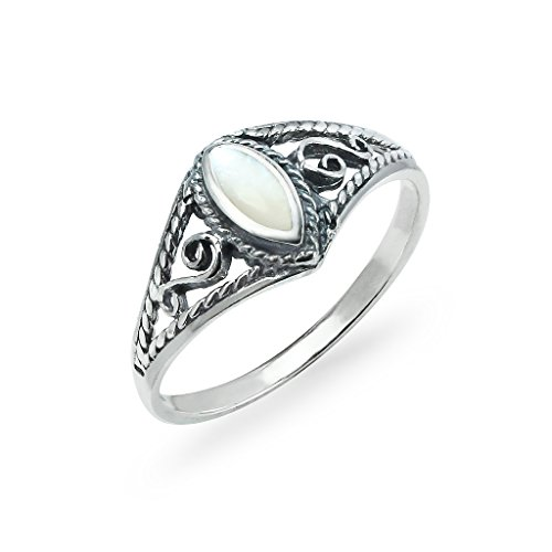 Sterling Silver Marquise Shaped Ring Filigree Sides Design Size 9 Simulated Mother Of Pearl Inlay