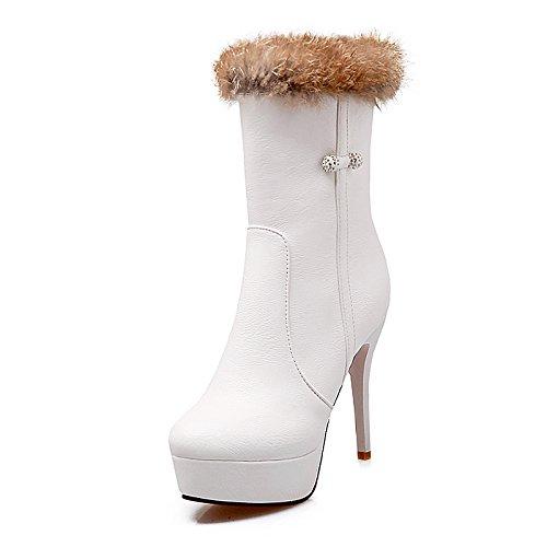 HSXZ Zapatos de mujer moda otoño invierno botas de piel sintética Bootie Botas Stiletto talón Round Toe botines/botines botas Mid-Calf Rhinestone para White