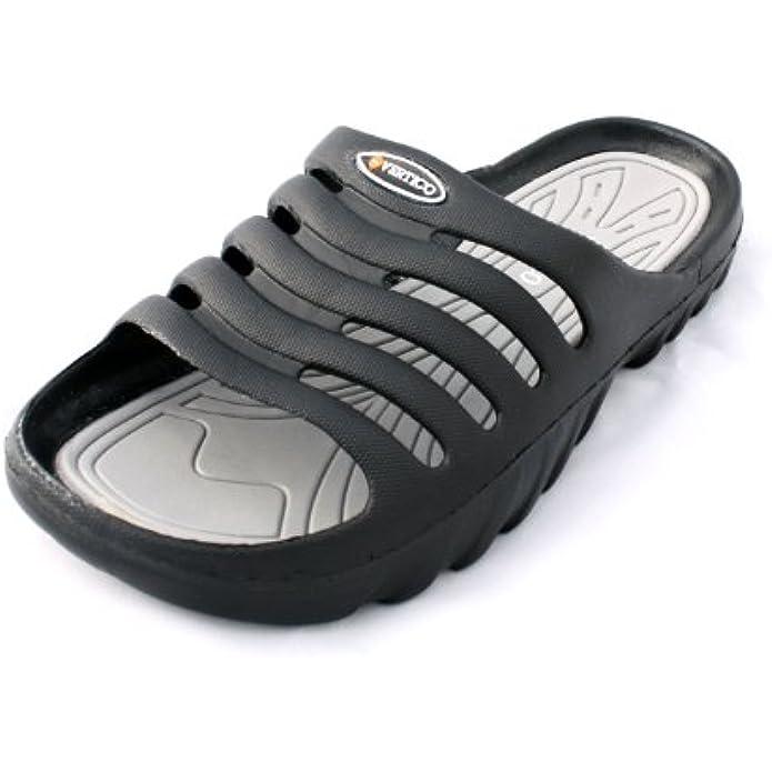 Vertico Men's Shower and Pool Slide On Sandal, Black and Gray
