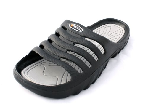 Vertico Men's Shower and Pool Slide On Sandal, Black and Gray - 9-10 D(M) US