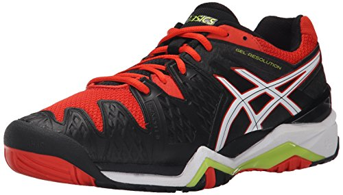 ASICS Men's Gel-Resolution 6 Tennis Shoe, Black/White/Orange, 14 M US