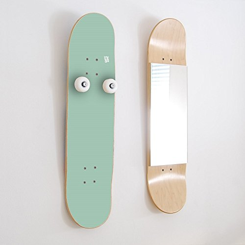 Unique Skateboard Gifts Inspirational in the world of Skateboarding - Great Present Birthday or Christmas - Skate Coat Rack and Mirror mint color by SKATE-HOME