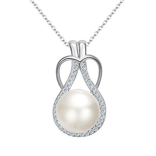 (FANZE 925 Sterling Silver CZ Cream Freshwater Cultured Pearl Love Heart Teardrop Bridal Pendant Necklace)