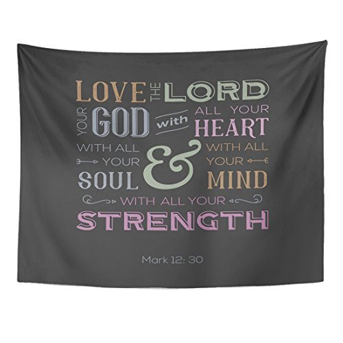 Breezat Tapestry Jesus of Bible Quote Use As Love the Lord Your God with All Heart From Mark Catholic Home Decor Wall Hanging for Living Room Bedroom Dorm 60x80 Inches by Breezat