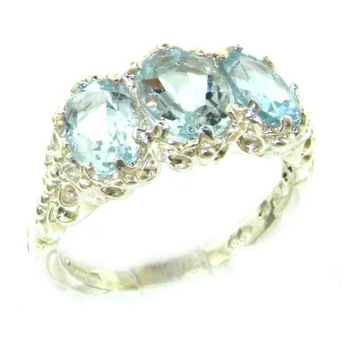 14k White Gold Natural Aquamarine Womens Trilogy Ring - Sizes 4 to 12 (White Gold Trilogy Ring)