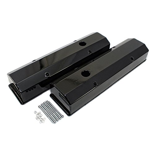 (Assault Racing Products V4001BK PC Small Block Chevy Black Powder Coated Fabricated Aluminum Long Bolt Valve Covers SBC 283 327 350 400)