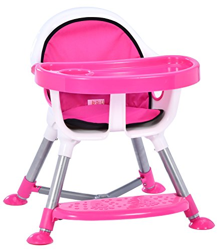 Bo-u Simple Assembly Portable High Chair For Babies/Toddlers, Pink Image