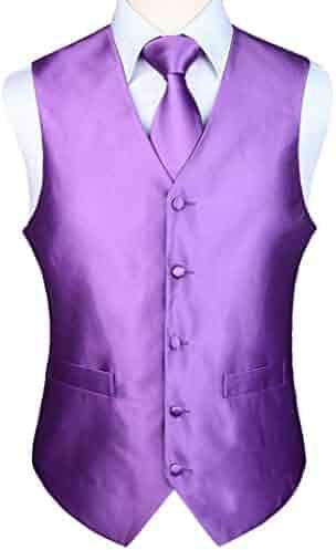 7eded0794eea9 HISDERN Men's Solid Color 6XL Jacquard Waistcoat & Necktie and Pocket  Square Vest Suit Set Purple