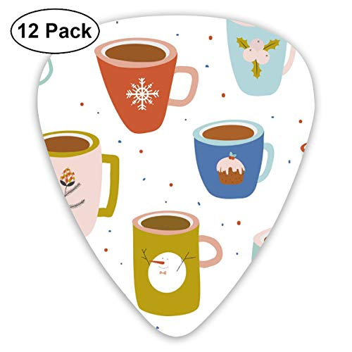 HAIDILUN Christmas and New Year Greeting Pattern Guitar Picks Plectrums Acoustic Guitar Ukulele Picks 0.46 Mm, 0.73mm, 0.96 Mm,12 Pack