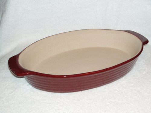 The Pampered Chef New Traditions Large Oval Baker, 12 x 8 Inches, Cranberry