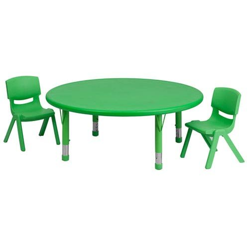 45 Inch Round Adjustable Green - Parkside 45 in. Round Adjustable Green Plastic Activity Table Set with 2 School Stack Chairs