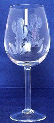 "Hand-Etched Glass Cactus White Wine Glass, Set of 4 - 9""H"