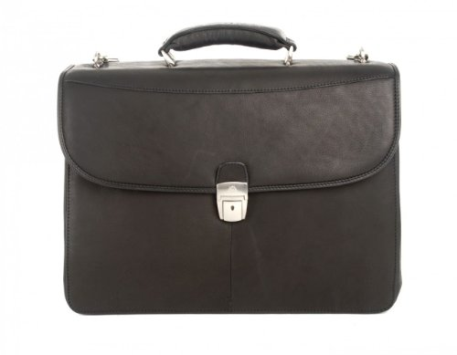 Tony Perotti Mens Italian Leather Milano Double Compartment Express Leather Laptop Briefcase (Black Italian Briefcase)