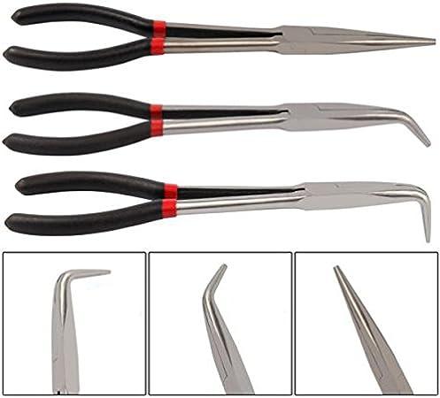 Cavis 3X jeu de pinces a bec extra-long de 11 pouces poignee mecanique droite et coudee outil a main