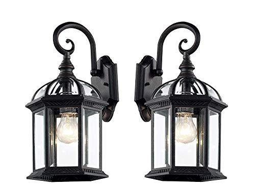 Wall Lanterns | Weather-Resistant Outdoor Lamps | Decorative Scroll Sconce Arm, Scalloped Edges & Clear Beveled Glass for Front Porch, Backyard & Gardens (Black- 2 Pack) (Patio Brick Yard Front)