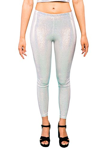 Holographic Silver Snakeskin Women's Leggings Ladies Glitter Party Tights Sparkly Festival Pants EDM Clothing XS S M L XL XXL (XX-Large) (Clown Hoop Pants)