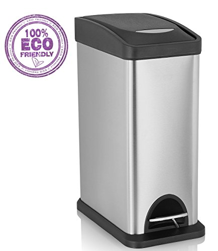 SVVSS 8 Liters Step Trash Can,Stainless Steel Trash Can with Lid,Removable Inner Wastebasket for Bathroom,Living Room,Kitchen,Bedroom,Office