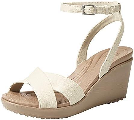 crocs Womens Leigh Ii 2-Strap W Wedge Sandal Oatmeal,