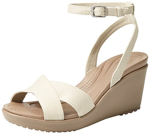 (Crocs Women's Leigh II Ankle Strap Wedge W Sandal, Oatmeal/Mushroom, 5 M US)