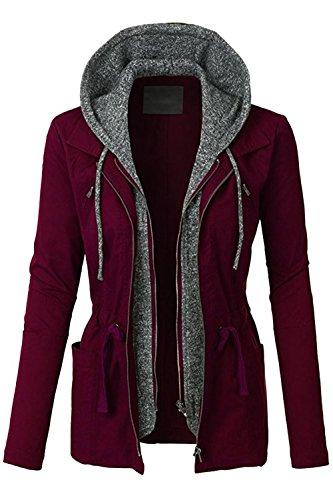 FASHION BOOMY Womens Zip Up Military Anorak Jacket W/Hood (Large, NL_Wine) ()