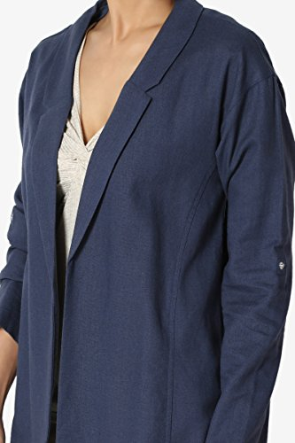 TheMogan Junior's Casual Relaxed Fit Boyfriend Lined Blend Blazer Jacket Navy S by TheMogan (Image #5)