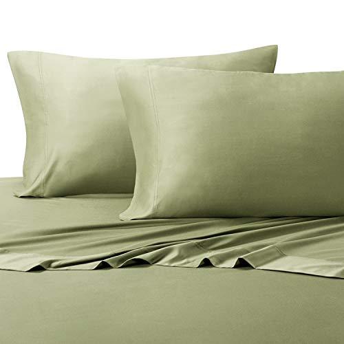 [해외]세이 지 컬러 편안한 부드러운 여왕 대나무 시트; 100% 비스코 스 온도 조절 패브릭 / Silky Soft Queen Bamboo Sheets in Relaxing Sage Color; 100% Viscose Temperature Regulated Fabric