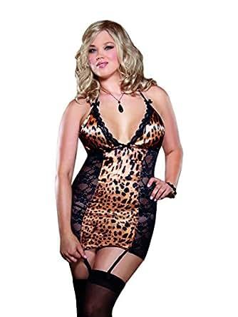Dreamgirl Women's Queen Size Kittylisious Garter Slip, Leopard, One Size
