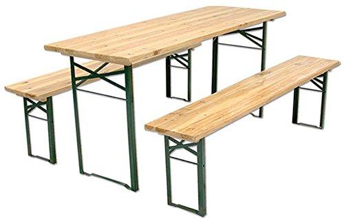 Set Bierzeltgarnitur Tisch 2 Bänke A 3 Beine Cm 220 X 80 46641