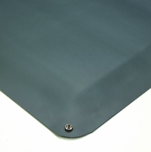 Wearwell Natural Rubber 791 Static Dissipative Anti-Fatigue Mat with Snap, Safety Beveled Edges, for Dry Areas, 3' Width x 5' Length x 1/2