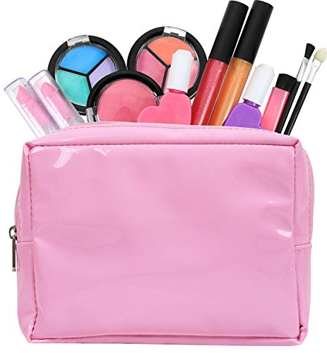 Click N' Play Pretend Play Kids Washable Real Makeup Set with A Pink Cosmetic Kit Tote Bag (Set of 13)
