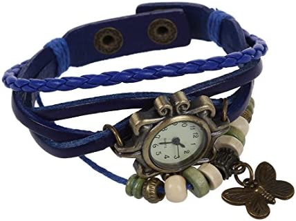 Wovelot horloge vintage bronskleuren voor vrouwen en dames leren armband met envelop kwartsuurwerk blauwe vlinder