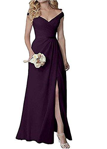 Beauté Noire Ak V-cou Robes De Demoiselle D'honneur Longue Sans Manches En Mousseline De Soie De Raisin Robe De Fête De Mariage