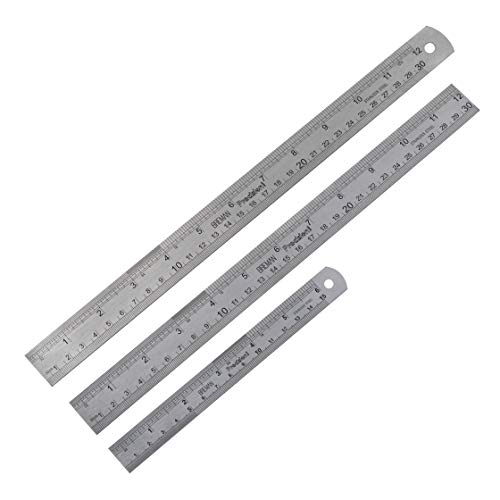 Stainless Steel Ruler Set 3 Pack - Includes 2 12 Inch + 6 Inch Stainless Steel Metric Rulers for Excellent Precision and Accuracy (36 Ruler Precision)