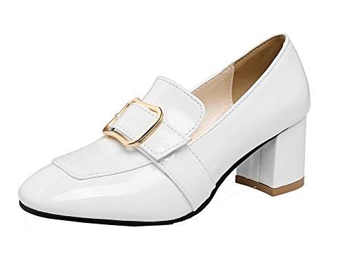à bout fermés unis chaton Blanc Chaussures talons femmes VogueZone009 et Escarpins carré q0w8yx