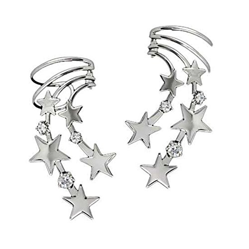 Sterling Silver Left And Right Pierceless Celestial Stars Ear Cuff Wraps by Auntie's Treasures